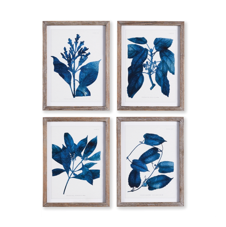 Indigo Botanical Art Gallery Wall Prints
