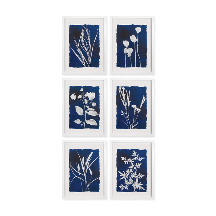 Blue Botanical Gallery Wall Art Prints