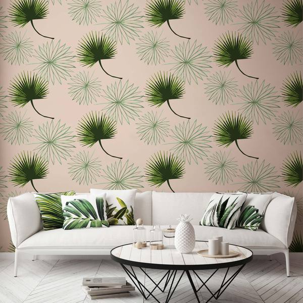 Pink and Green Palm Wallpaper