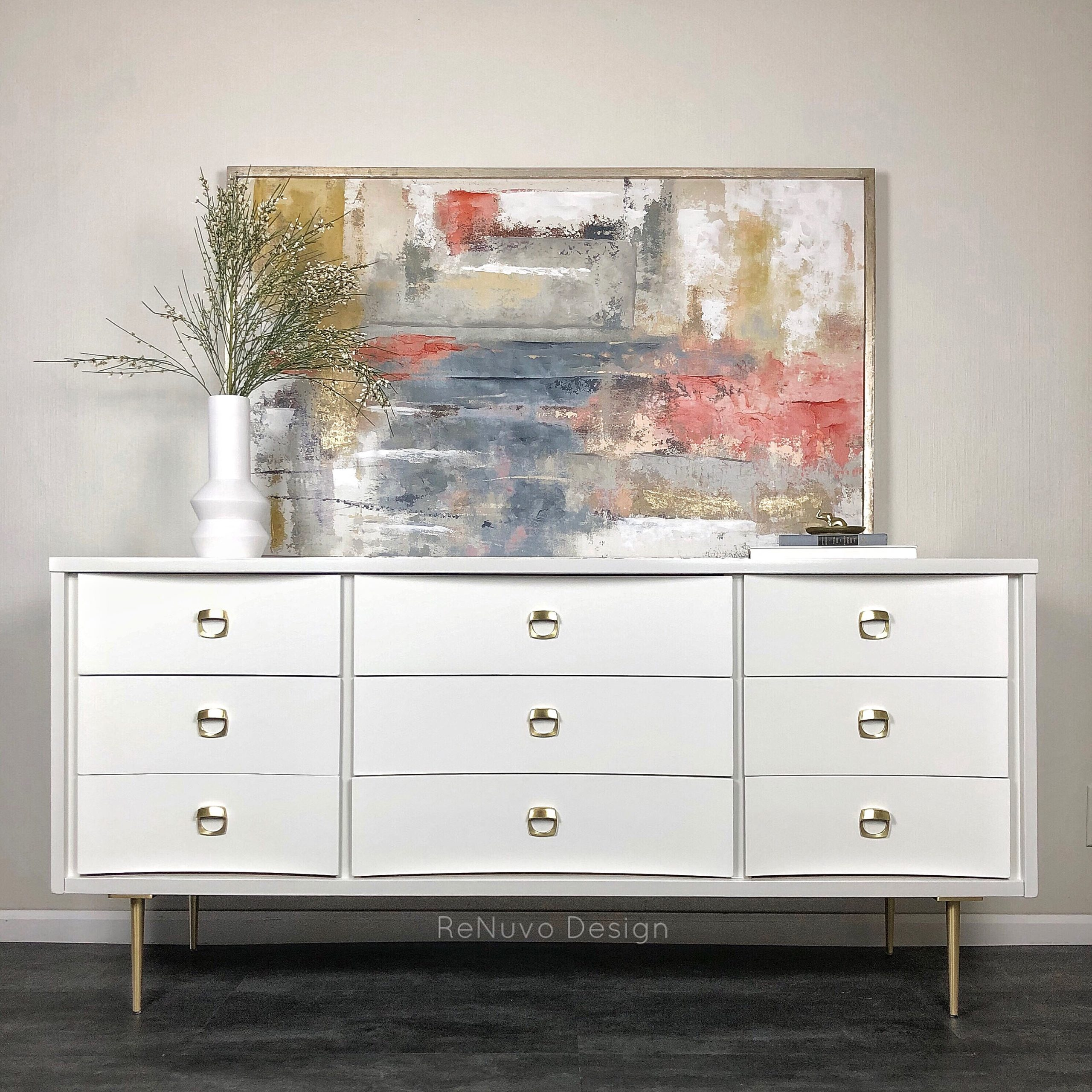 White Painted 9 Drawer Vintage Dresser