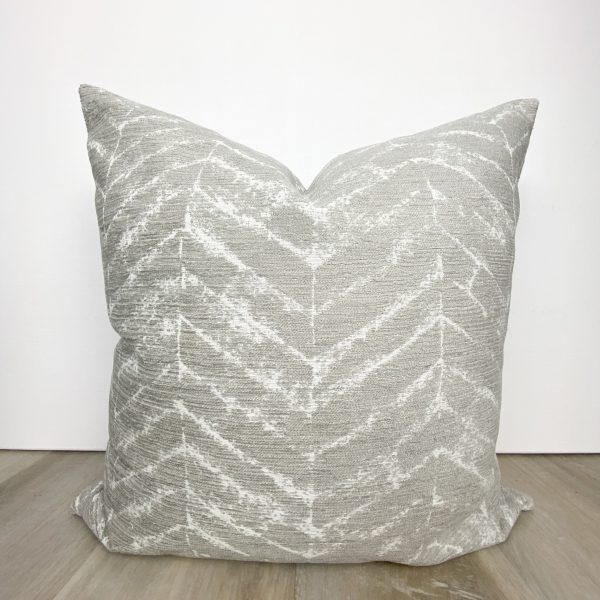 Gray Feather Print Designer Pillow