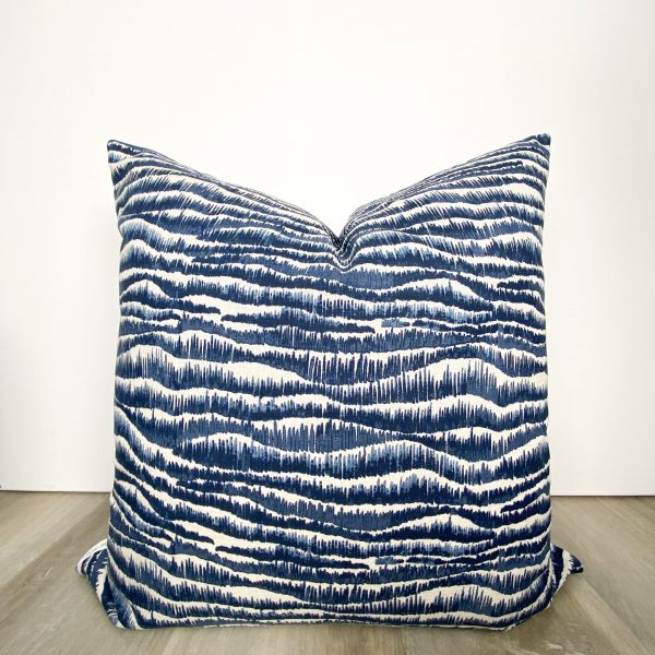 Navy Blue Print Designer Pillow
