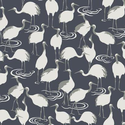 Winter Cranes Navy Wallpaper