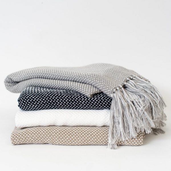 Dot Fringe Throw Blanket