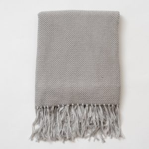 Gray Dot Fringe Throw Blanket