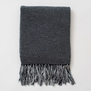 Navy Dot Fringe Throw Blanket
