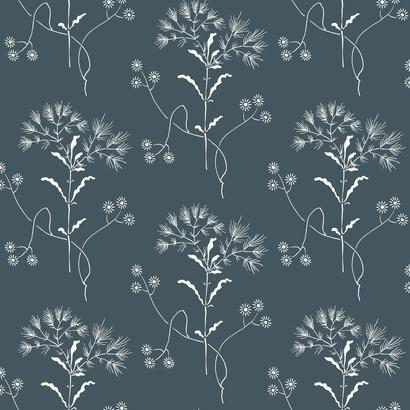 Wildflower Steel Gray Wallpaper