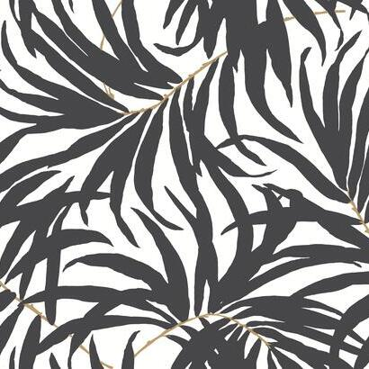 Bali Leaves Charcoal York Palm Wallpaper
