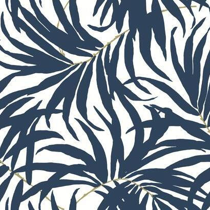 Bali Leaves Navy York Palm Wallpaper