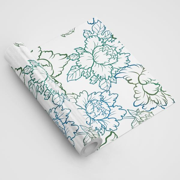 Peony Blue Green Floral Wallpaper