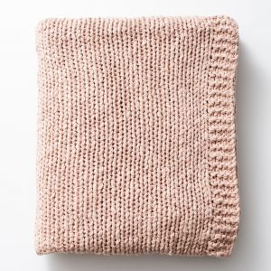 Blush Pink Chunky Knit Cotton Blanket