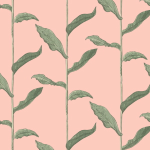 Stalks Pink and Green Wallpaper