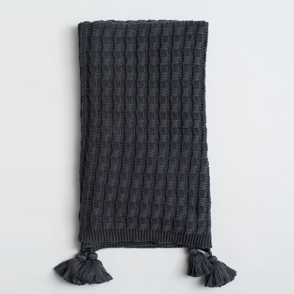 charcoal gray tassel throw blanket