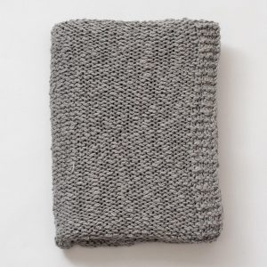 Gray Chunky Knit Cotton Blanket