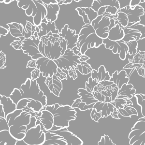 Peony Gray and White Floral Wallpaper
