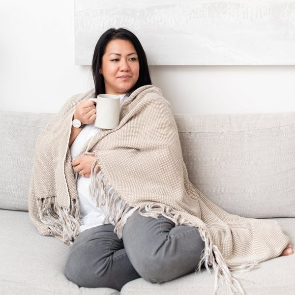 Taupe Dot Fringe Throw Blanket