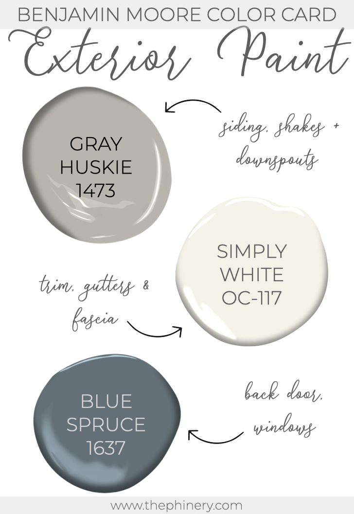 Benjamin Moore Gray Huskie Simply White Exterior Paint Color