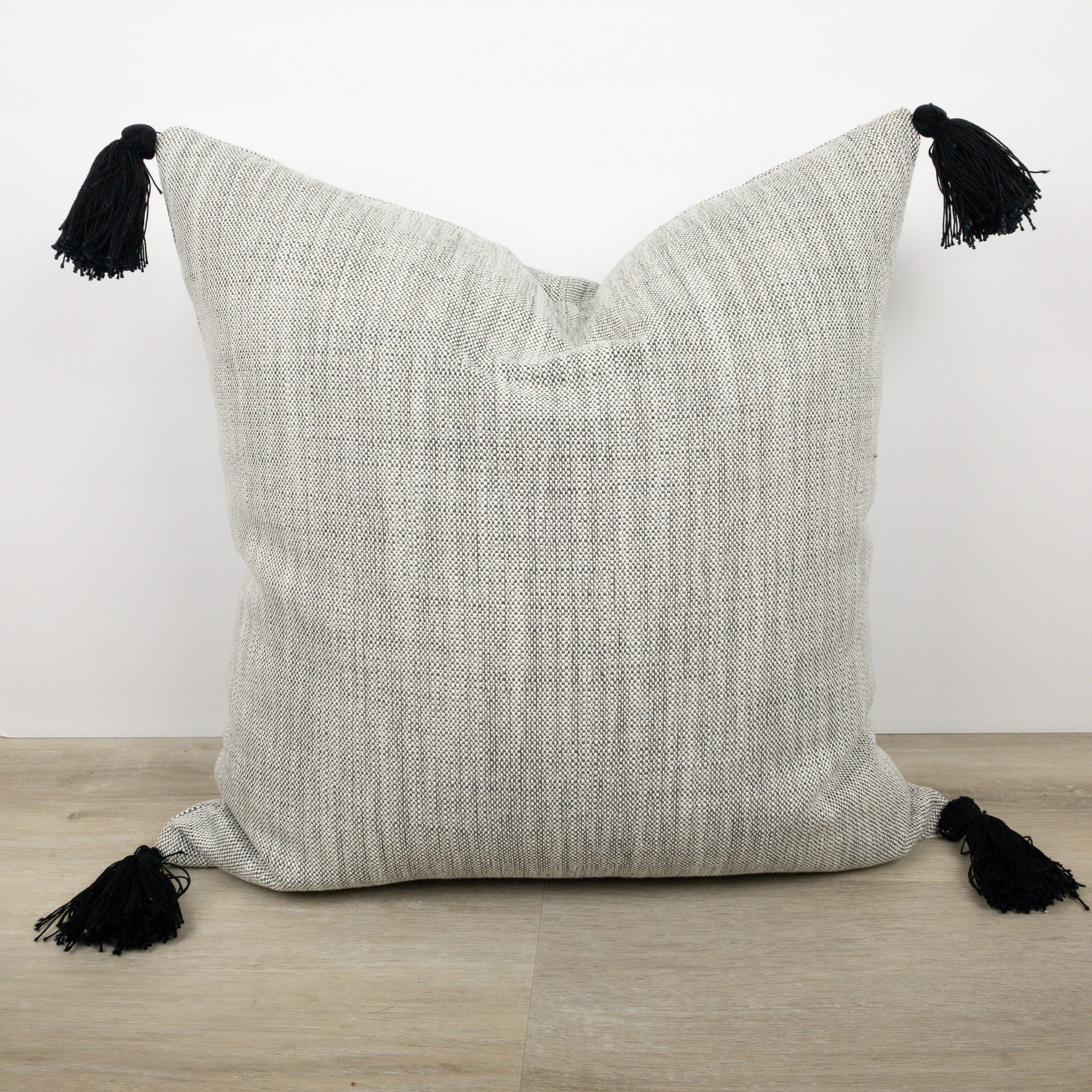Salt and pepper black tassel pillow