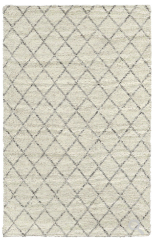 Diamond looped ivory wool rug