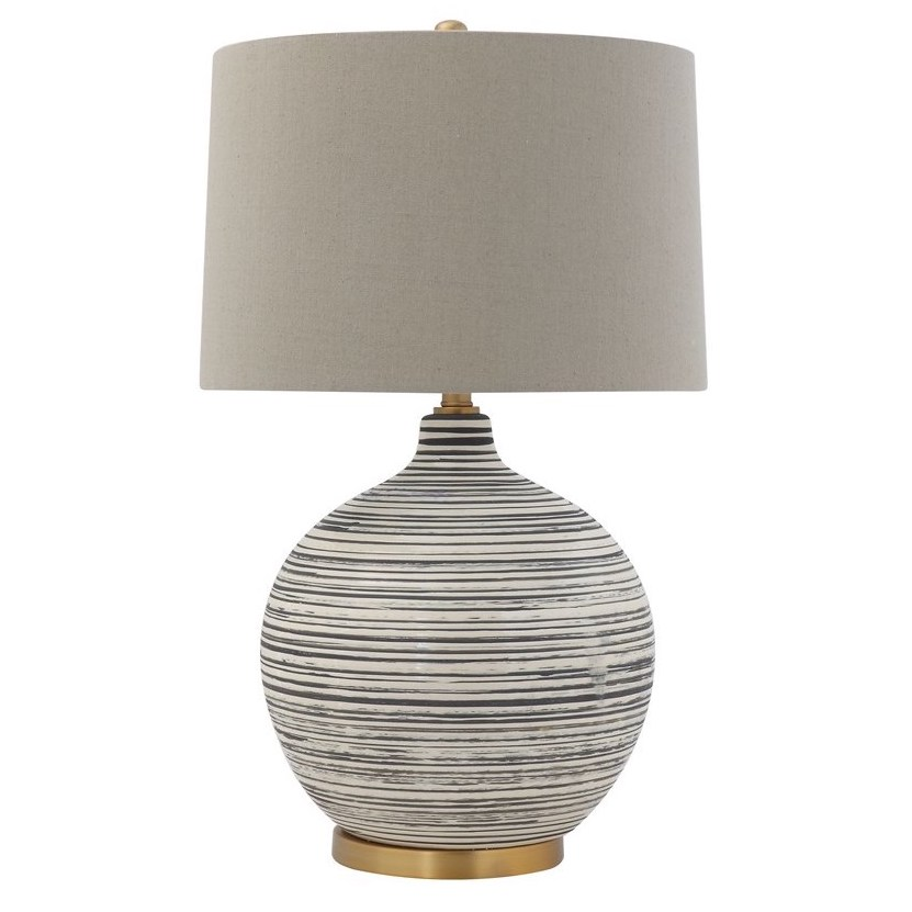 gray and white striped table lamp