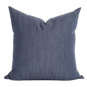 Navy Linen Pillow Cover 01
