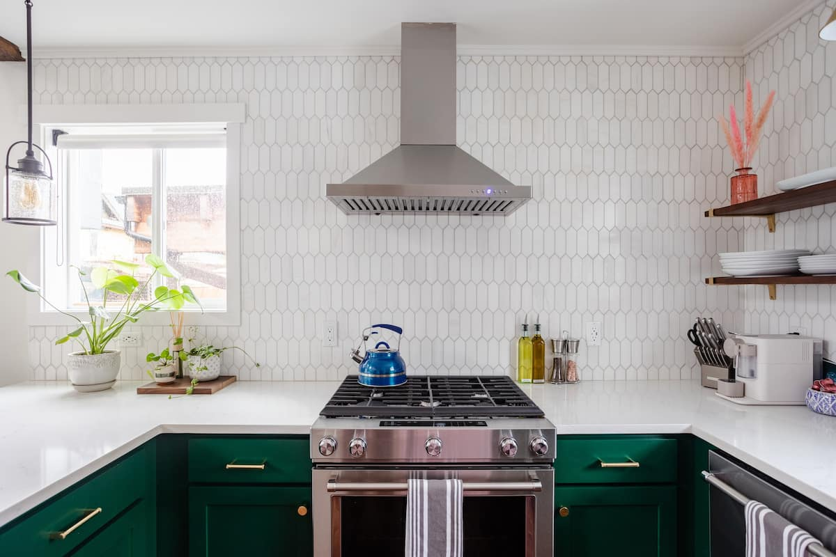 AirBnB MCM Green Cabinets Kitchen Design - The Phinery Interior Design Studio Seattle
