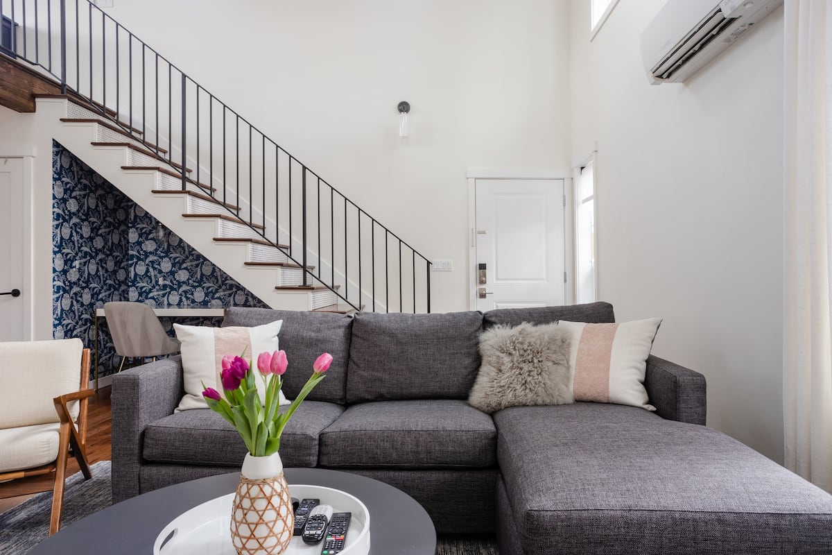 AirBnB MCM Staircase Design - The Phinery Interior Design Studio Seattle