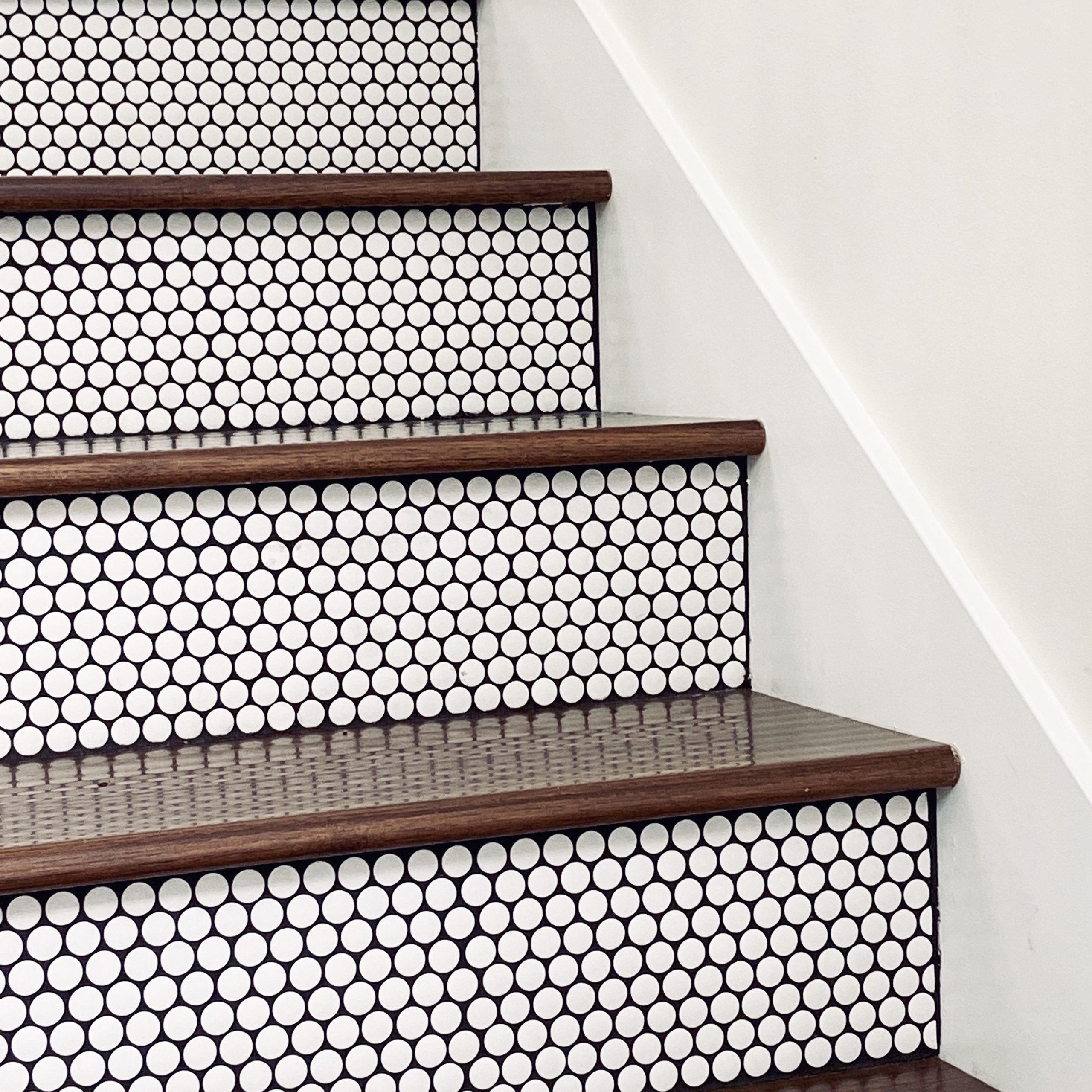AirBnB MCM Penny Tile Staircase Design - The Phinery Interior Design Studio Seattle