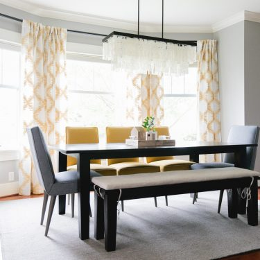Modern Dining Room with Yellow Accents by The Phinery