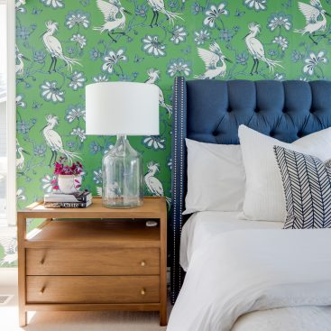 York Egret Wallpaper Master Bedroom Accent Wall - The Phinery Interior Design Studio Seattle