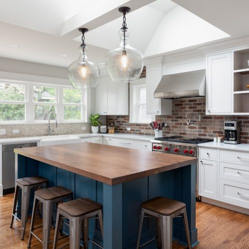 Kitchen Design - Brick Backsplash Wood Island